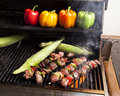 Grilling Kebabs And Corn-2 Royalty Free Stock Photography - 26171957