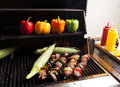 Grilling Kebabs And Corn-1 Royalty Free Stock Images - 26171959