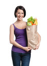 Attractive Girl With The Packet Of Fruits Stock Image - 26181971