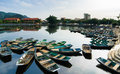 Boats In Tam Coc Wharf Royalty Free Stock Photo - 26191155