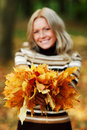 Woman Portret In Autumn Leaf Royalty Free Stock Photos - 26237918