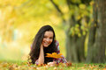 Woman Portret In Autumn Leaf Royalty Free Stock Photos - 26238398