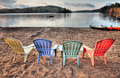 Four Patio Chairs Looking Over Lake Stock Image - 26247571