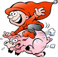 Vector Illustration Of Elf Riding On A Pig Stock Images - 26280614