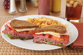 Corned Beef Sandwich With Fries Royalty Free Stock Photos - 26280788