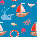 Seamless Pattern With Boats And Sea Animals Stock Images - 26374904