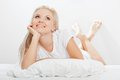 Blonde Woman Laying On Bed Stock Photo - 26382060