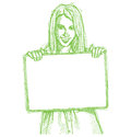 Sketch Happy Business Woman Holding Blank Card Royalty Free Stock Photography - 26385227