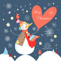 Jolly Snowman With Heart Royalty Free Stock Photos - 26390078