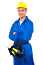 Young Contractor With Tool Set And Arms Crossed Stock Image - 26395571