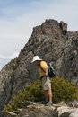 Hiker On Edge Of Mountain Royalty Free Stock Images - 2641409
