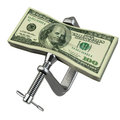 Clamp Squeezing Dollar Currency Royalty Free Stock Images - 26404189