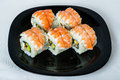 Maki Sushi With Smoked Ell And Prawn. Royalty Free Stock Image - 26405206