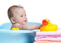 Baby Kid Taking Bath And Playing Royalty Free Stock Photos - 26406588