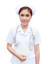 Young Nurse Holding Medical Report And Stethoscope Royalty Free Stock Photography - 26427077