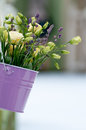 Beautiful Bouquet Of Roses And Lavender   In Bucke Stock Image - 26432221