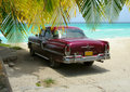 Cuba Beach Classic Car And Palms Royalty Free Stock Photography - 26437187