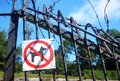 No Dogs Allowed Red Sign On Metallic Fence Royalty Free Stock Photography - 26444137