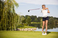 Golf Player Teeing Off Royalty Free Stock Photo - 26460105