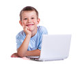 Boy With Laptop On White Royalty Free Stock Images - 26460679