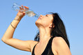 Thirsty Young Woman Drinking Cold Water Stock Images - 26464384