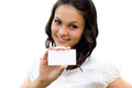 Beautiful Woman Holding Blank Business Card Royalty Free Stock Photos - 26465428