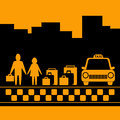 Transport Background With Family, Luggage And Taxi Royalty Free Stock Images - 26474179