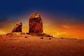Gran Canaria Roque Nublo Dramatic Sunset Sky Royalty Free Stock Photo - 26477385