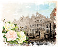 Illustration Of Amsterdam Street And Roses. Stock Photo - 26490220