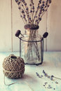 Twine Ball With Lavender Royalty Free Stock Photography - 26502767