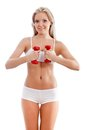Slender Woman Wearing White Underwear Royalty Free Stock Photography - 26506057