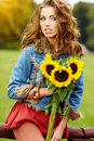 Fashion Woman With Sunflower Stock Image - 26517001