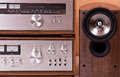 Vintage Stereo Amplifier Tuner Speakers Royalty Free Stock Photography - 26524697