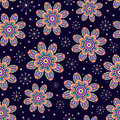 Seamless Pattern With Abstract Colorful Flowers Royalty Free Stock Photo - 26535045