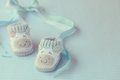 Shoes For Newly Born Baby Boy Royalty Free Stock Image - 26550926