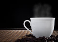 Hot Fresh Coffee With Smoke On Cup Stock Image - 26558781