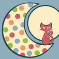 Cat In The Moon Greeting Card Royalty Free Stock Photo - 26564325