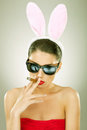 Bunny Woman  Smoking On A Big Cigar Royalty Free Stock Images - 26587129