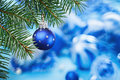 Christmas Ball On Blue Spruce Branch Stock Image - 26640241