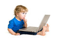 Child With Laptop Royalty Free Stock Photo - 26640375