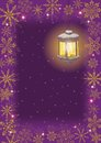 Christmas Card: Vintage Lamp And Snowflakes Stock Photos - 26647883