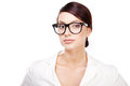 Strict Woman In Large Glasses Royalty Free Stock Images - 26654229