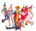 Birthday Party Group Of Teen With Clown. Stock Images - 26671534
