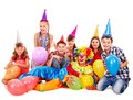 Birthday Party Group Of Teen With Clown. Stock Photos - 26671633
