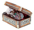 Pearl Inlay Wooden Chest With Jewels Royalty Free Stock Photos - 26676238