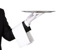 Waiter With Empty Silver Tray Stock Photos - 26682533