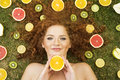 Girl With Fruit Royalty Free Stock Images - 26691489
