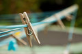 Wooden Clothes Peg On A Washing Line Stock Images - 26700054
