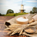 Organic Ingredients For Bread Preparation Royalty Free Stock Photo - 26735555