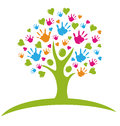 Tree With Hands And Hearts Logo Stock Image - 26757681